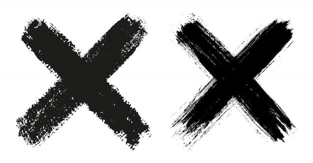Grunge x zeichen Premium Vektoren