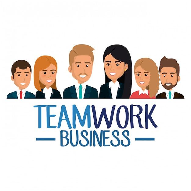 Gruppe der wirtschaftler-teamwork-illustration Kostenlosen Vektoren