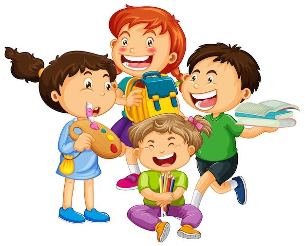 Gruppe der zeichentrickfigur der kleinen kinder Kostenlosen Vektoren