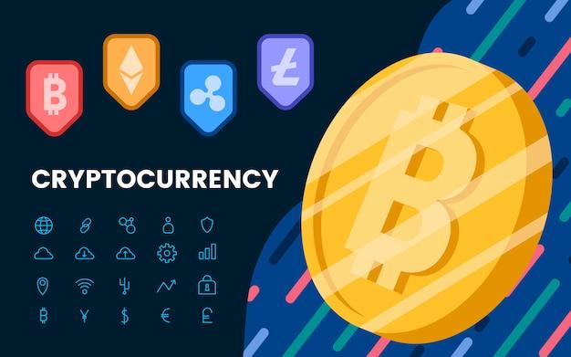 Gruppe des elektronischen bargeldsymbols cryptocurrencies Kostenlosen Vektoren