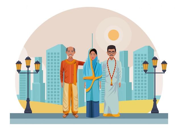 Gruppe des indischen leuteavatars Premium Vektoren