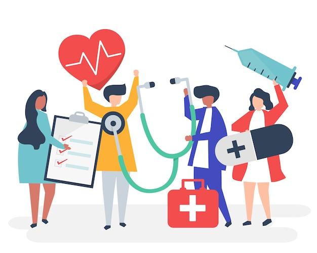 Gruppe des medizinischen personals, das gesundheitsbezogene ikonen trägt Kostenlosen Vektoren