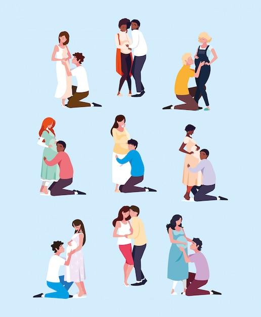 Gruppe des schwangeren avataracharakters der paare Premium Vektoren