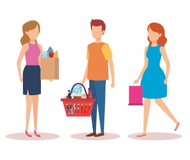 Gruppe einkaufscharaktere der jungen leute Kostenlosen Vektoren