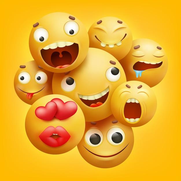 Gruppe gelbe smileykarikatur emoji charaktere in 3d Premium Vektoren