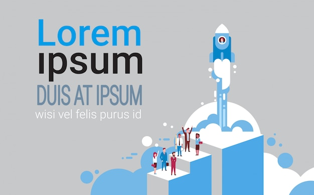 Gruppe geschäftsleute über dem starten von raum rocket startup concept isometric Premium Vektoren