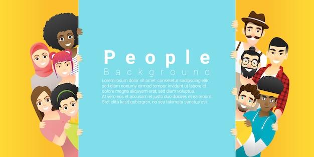 Gruppe glückliche multi ethnische leute, die hinter leerem buntem brett stehen Premium Vektoren