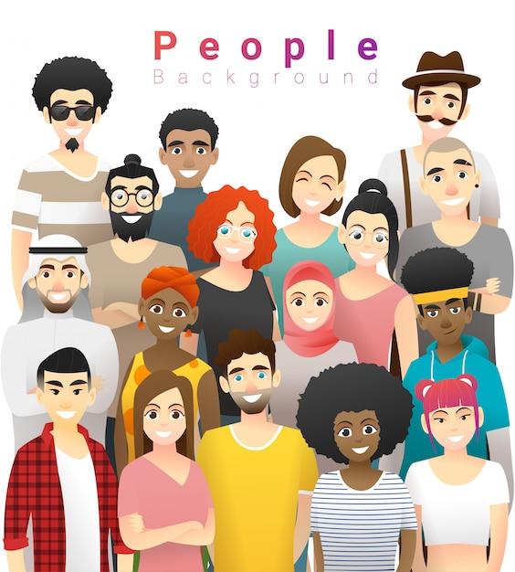 Gruppe glückliche multi ethnische leute, die zusammen stehen Premium Vektoren