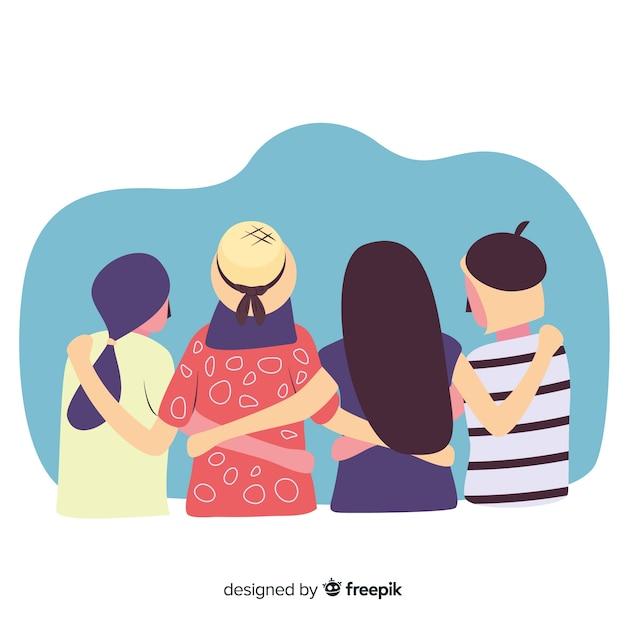 Gruppe jugendleute, die zusammen umarmen Kostenlosen Vektoren