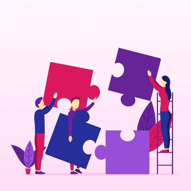 Gruppe junge geschäftsleute, die problem mit puzzlespiel lösen Premium Vektoren