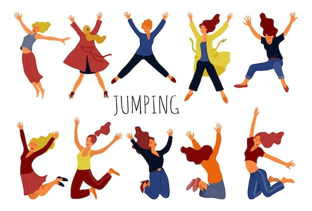 Gruppe junge glückliche springende frauen Premium Vektoren