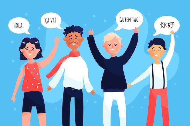 Gruppe junge leute, die in den verschiedenen sprachen sprechen Kostenlosen Vektoren