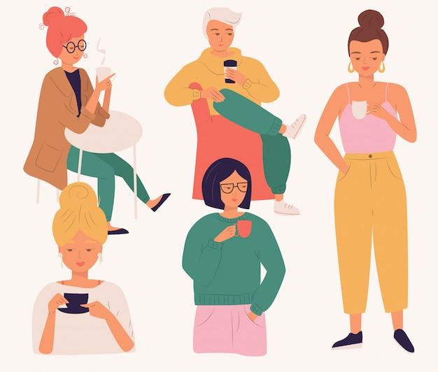 Gruppe junge leute, die kaffee trinken. frauen und mann, junge leute, sitzen und stehen, ein getränk genießend, lokalisierten ebene Premium Vektoren