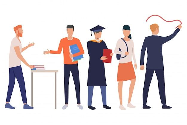 Gruppe junge männliche und weibliche kursteilnehmer mit lehrbüchern Kostenlosen Vektoren