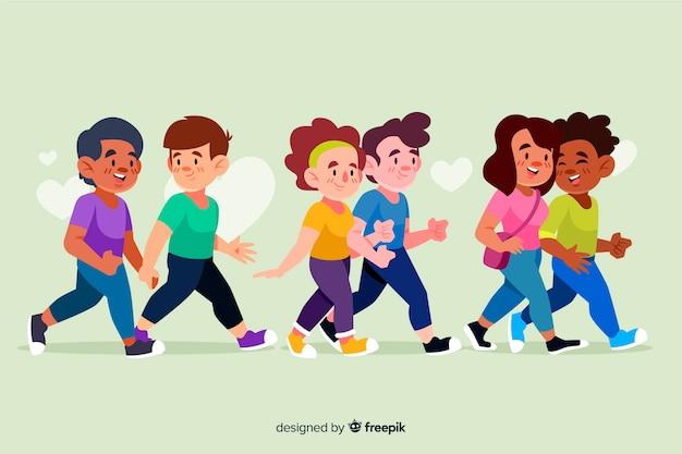 Gruppe junge paare, die zusammen illustration gehen Kostenlosen Vektoren