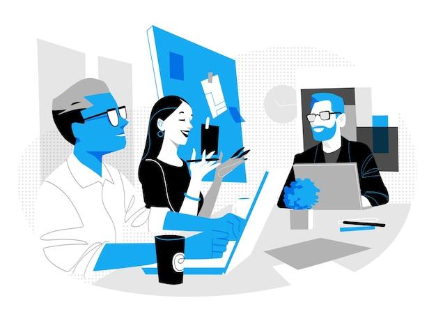 Gruppe junger berufstätiger, die im büro zusammenarbeiten Premium Vektoren