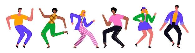 Gruppe junger glücklicher tanzender leute oder männlicher und weiblicher tänzer lokalisiert auf weißem hintergrund. illustration flaches design. Premium Vektoren