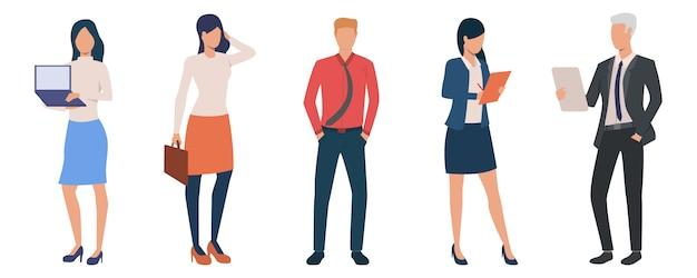 Gruppe junger männlicher und weiblicher unternehmer Kostenlosen Vektoren