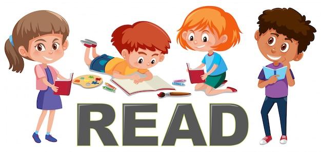 Gruppe kinder lesen konzept Premium Vektoren