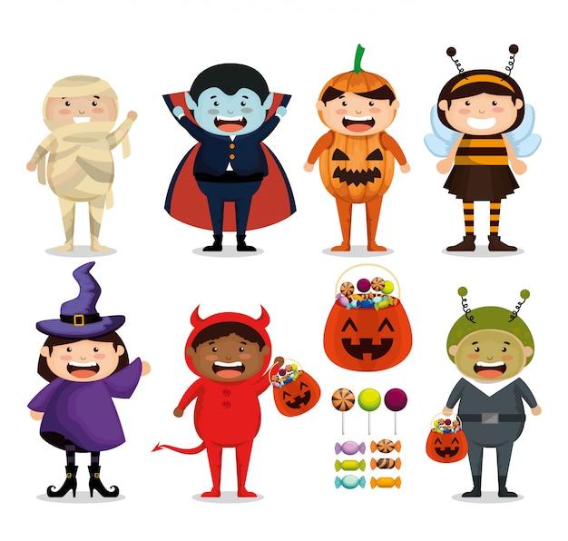 Gruppe kinder oben gekleidet in halloween Kostenlosen Vektoren