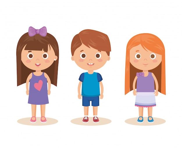 Gruppe kleinkindcharaktere Kostenlosen Vektoren