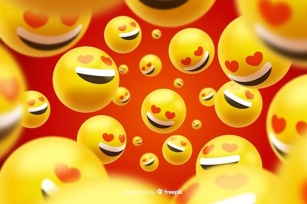 Gruppe realistische liebe emojis Kostenlosen Vektoren