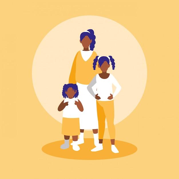 Gruppe schwarze familienmitgliedcharaktere Premium Vektoren