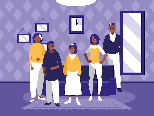 Gruppe schwarze familienmitglieder im wohnzimmer Premium Vektoren