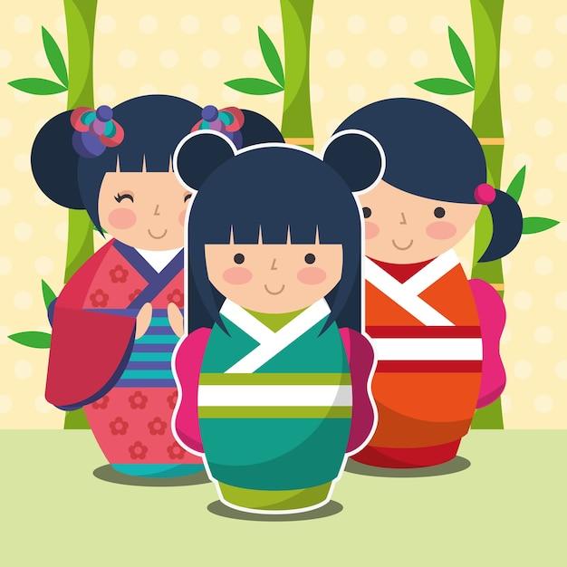 Gruppe süße japanische kokeshi puppe im kimono Premium Vektoren