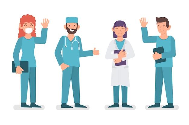 Gruppe von angehörigen der gesundheitsberufe Kostenlosen Vektoren