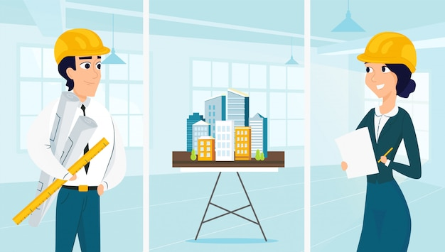 Gruppe von architekten mit stadtarchitekturplan Premium Vektoren