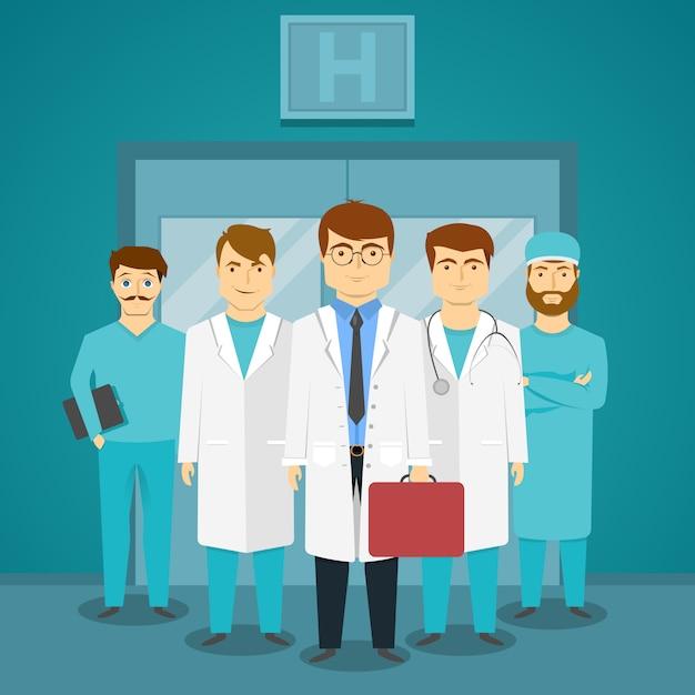 Gruppe von fachärzten im krankenhaus mit führendem arzt Kostenlosen Vektoren