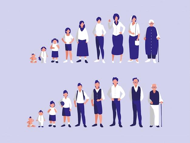 Gruppe von familienmitgliedern zeichen Premium Vektoren