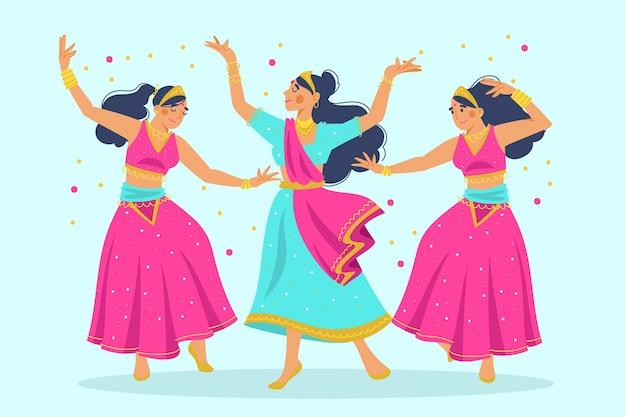 Gruppe von frauen, die bollywood-illustration tanzen Kostenlosen Vektoren