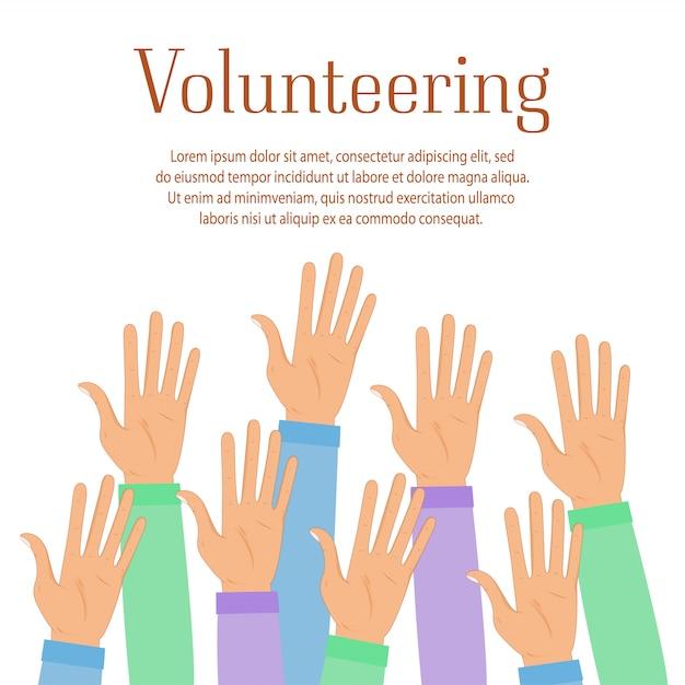 Gruppe von freiwilligen hebt die hände. helfende leute symbol auf blauem hintergrund. freiwilligenarbeit, wohltätigkeit, spendenkonzept. cartoon-illustration. Premium Vektoren