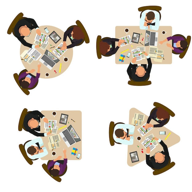 Gruppe von geschäftsleuten, die am schreibtisch diskutieren. draufsicht. draufsicht eines geschäftsteams, das an einem schreibtisch arbeitet. Premium Vektoren