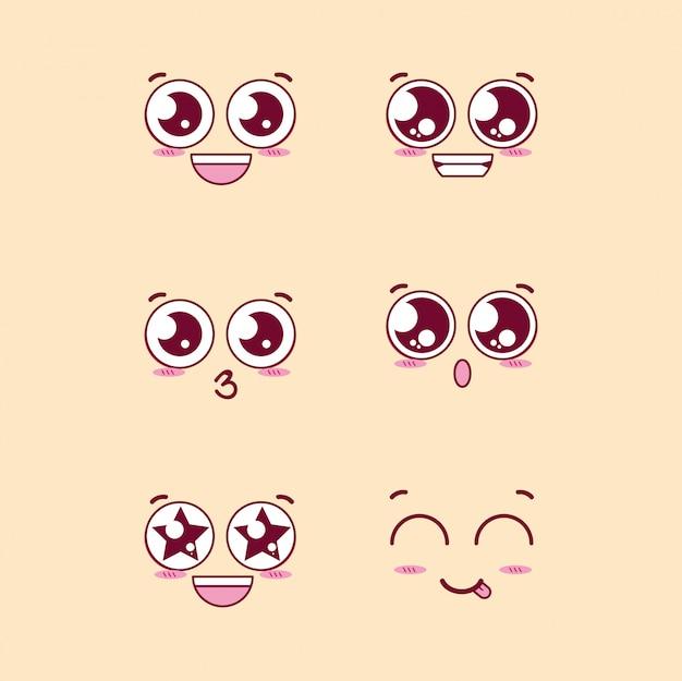Gruppe von gesichtern emoticons zeichen Premium Vektoren