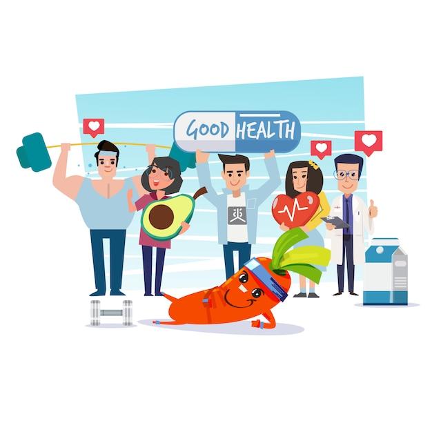 Gruppe von gesunden menschen Premium Vektoren