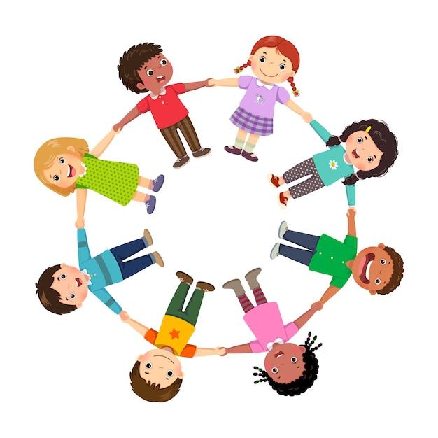 Gruppe von kindern, die hände in einem kreis halten Premium Vektoren
