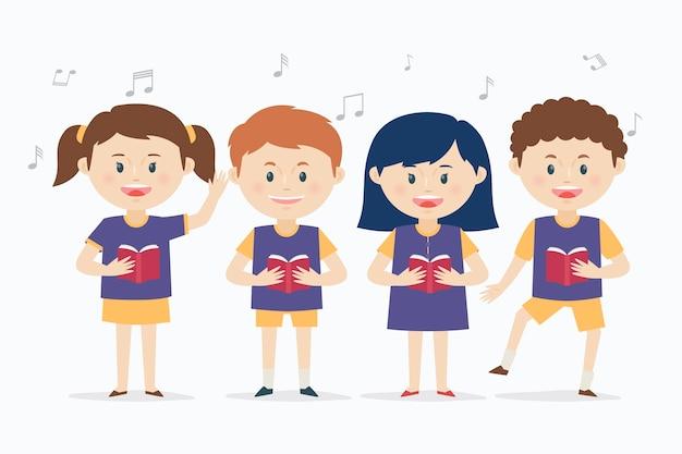 Gruppe von kindern, die in einem chor singen Premium Vektoren