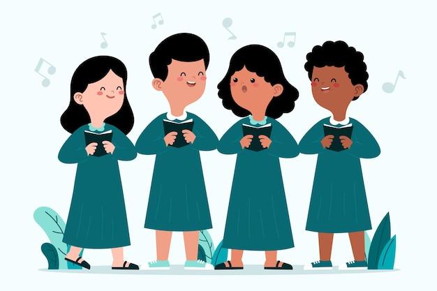 Gruppe von kindern, die in einem chor singen Kostenlosen Vektoren