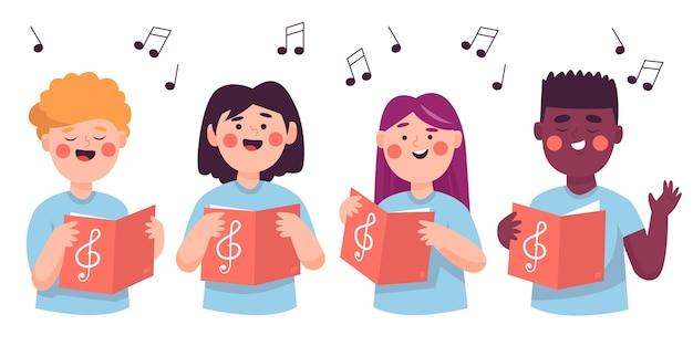 Gruppe von kindern, die in einer chorillustration singen Premium Vektoren