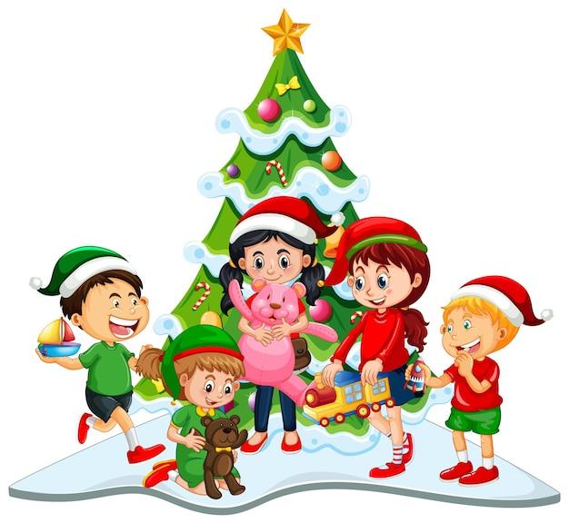 Gruppe von kindern, die weihnachtskostüm auf weißem hintergrund tragen Premium Vektoren