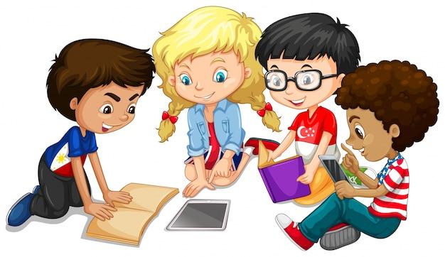 Gruppe von kindern machen hausaufgaben illustration Kostenlosen Vektoren