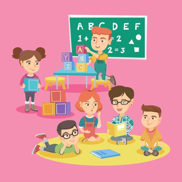 Gruppe von kindern mit lehrer im kindergarten. Premium Vektoren