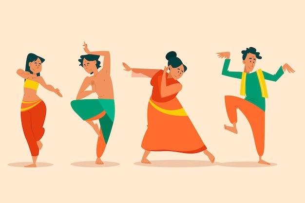 Gruppe von leuten, die bollywood tanzen Kostenlosen Vektoren