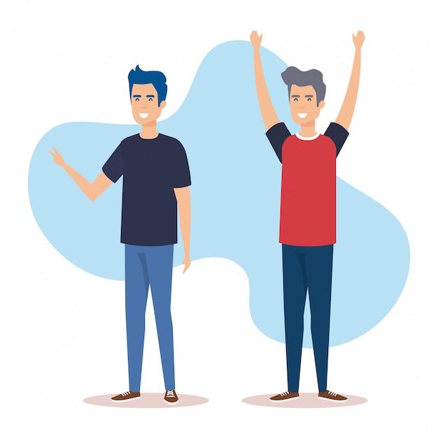 Gruppe von männern avatare zeichen Kostenlosen Vektoren