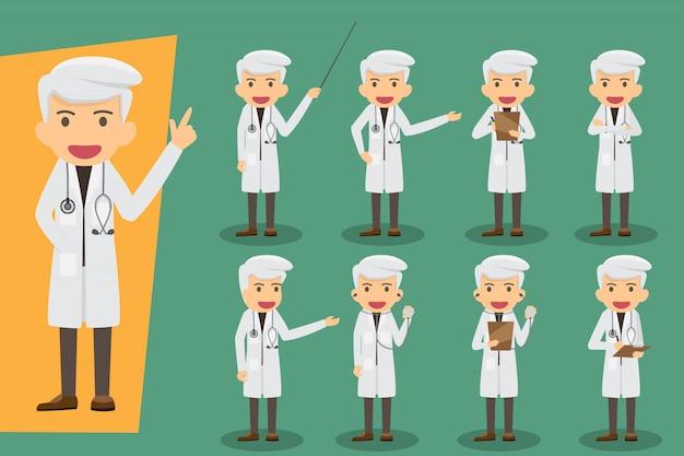 Gruppe von männlichen ärzten, medizinisches personal. flaches design menschen zeichen. stellen sie ärzte in verschiedenen pose. gesundheits- und medizinisches konzept Premium Vektoren