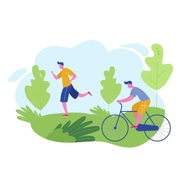 Gruppe von menschen, die sportliche aktivitäten ausführen, freizeit beim parkjoggen, fahrradfahren. charaktermann, der im freien trainiert. flacher cartoon Premium Vektoren