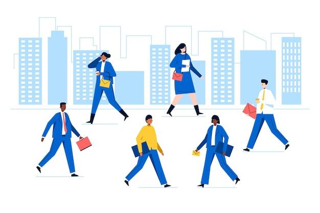 Gruppe von menschen, die wieder zur arbeit gehen Kostenlosen Vektoren